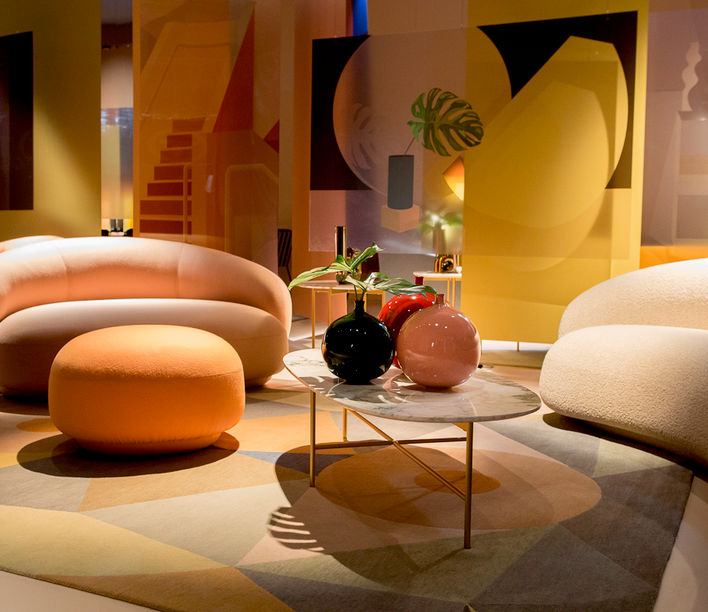 Tacchini stand at Salone del Mobile 2018 featuring the Julep Lounge by Jonas Wagell